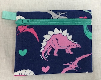 Dinosaurs Zipper Coin Purse, Credit Card Wallet, Earbud Pouch, iPod Holder