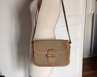 Vintage French cross body bag Canvas leather satchel