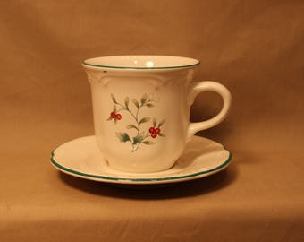 Vintage Pfaltzgraff Cup and Saucer Set with the Winterberry Design
