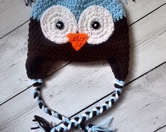 Crochet Owl Hat, Baby Boy Owl Hat, Toddler Owl Hat - Made To Order