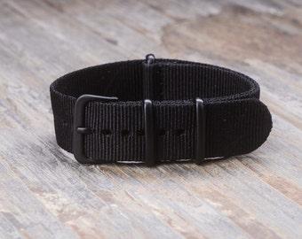 20mm PVD Buckle NATO Style Nylon Watch Band Strap Fits Timex Weekender, Rolex, Seiko, Hamilton, Daniel Wellington - Black