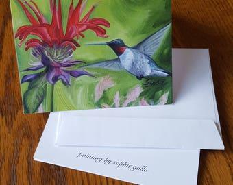 Hummingbird Notecard/Painted Stationary/Oil Print