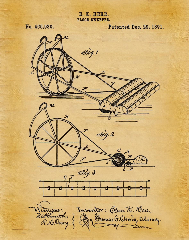 Patent 1891 Floor Sweeper - Vacuum Cleaner - Art Print - Poster ...
