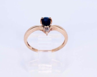 14K Yellow Gold Sapphire and Diamond Chip Ring, size 7