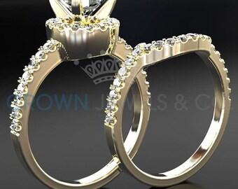 Half Eternity Wedding Band Diamond Engagement Ring Set 1.45 Carat Round Brilliant Cut F VS Women Bridal Rings In 14 Karat Yellow Gold