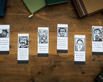 Set of 6 Bookmarks of Classic Authors with Quotes for the Book Lover-- literary gifts for teacher -- classic literature gift