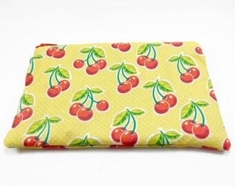 Zipper Bag - Zipper Pouch - Cherry Bag - Yellow and Red Bag - Cosmetic Bag - Makeup Bag - Zippered Bag - Travel Bag - Red Cherry Bag