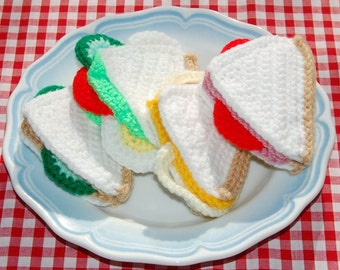 Crochet Pattern for a Selection of Sandwiches - Crochet Toy Food, Play Food