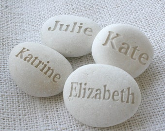 Personalized Beach Pebbles - set of 4~10 Custom Engraved name or word pebbles by sjEngraving