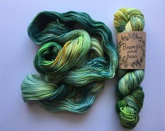 Hand Dyed Worsted Weight Yarn, Superwash Merino Wool - Grassland (Dyed to order)