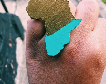 Blue a Gold Africa Wood Adjustable Ring
