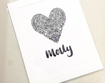Personalised name print,heart poster,gift for her,gift for new baby,girls personalised name sign,girls room decor,personalised nursery print