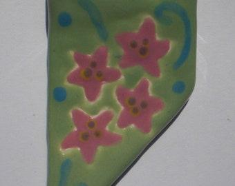 Spring Green Earthenware Flower Pendant