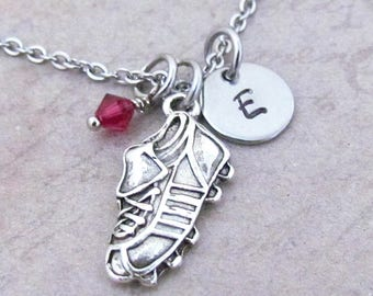 Soccer Shoe Charm Necklace Personalized Antique Silver Hand Stamped Initial Birthstone Soccer Cleat Charm Necklace
