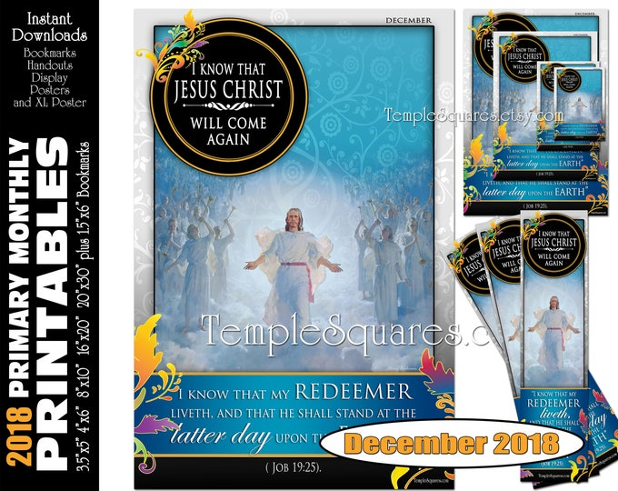 Printable Primary Monthly Posters December 2018 I am a Child of God Poster Bookmark and Handouts 5 sizes XL poster size down to handout size