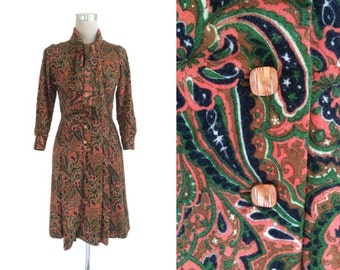 Vintage Paisley Dress - 1970's Dress - 70's Vintage Dress - Emerald Green and Terracotta Scarf Dress - Secretary Chic