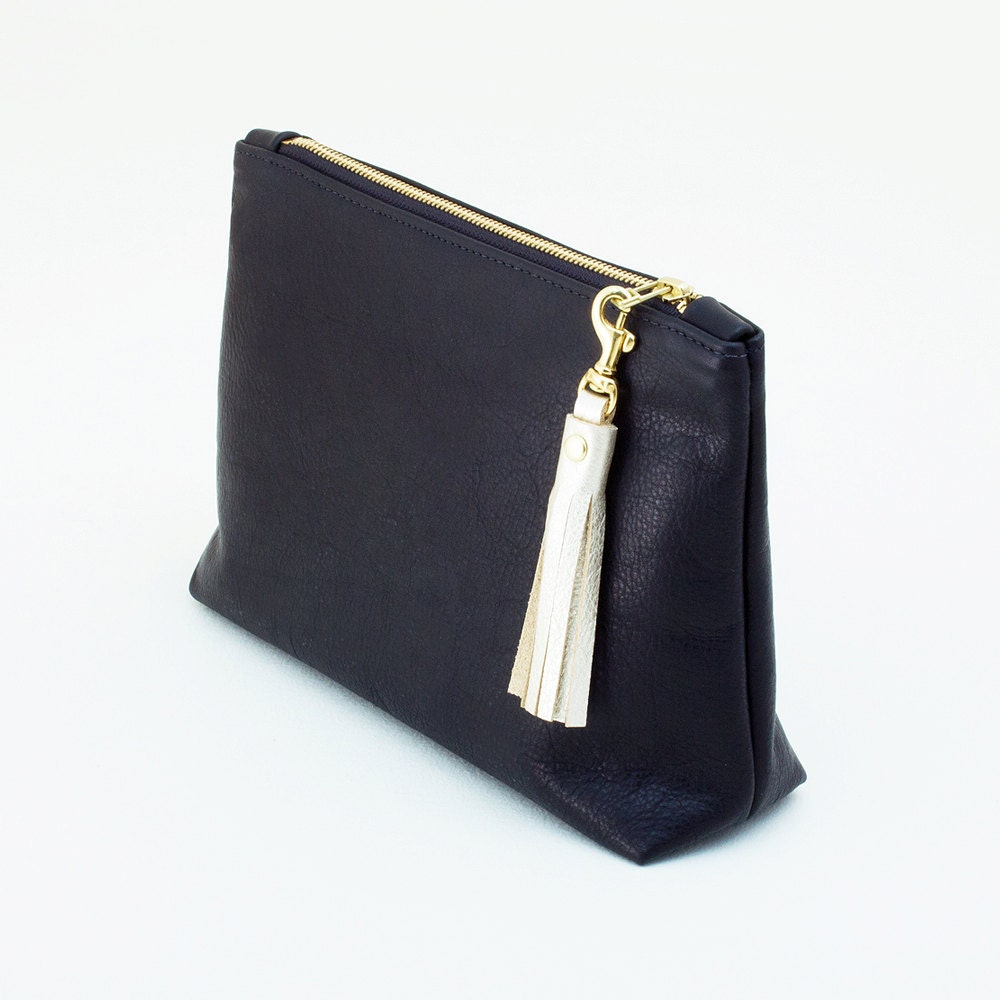 Large Leather Clutch with Tassel Zipper Pull Clutch with