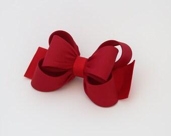 Red Bow Hair Clip, Red Girl Hair Clip, Bow Hair Clip, Toddler Red Hair Clip, Girls Bow Hair Clip, Big Bow Hair Clip, 984