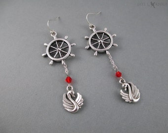 Captain Swan Earrings - Once Upon a Time - Storybrooke - Emma Swan - Captain Hook - Killian Jones - Silver Charms