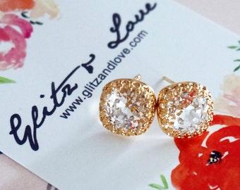 Emma - Yellow Gold Clear Swarovski Crystal Rose Gold Ear Studs, Wedding Bridesmaid Earrings Jewelry, Swarovski Studs Square Cushion 10mm