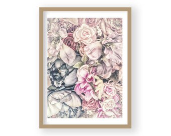 Flower Print, Flower Poster, Rose Print, Rose Wall Decor, Rose Wall Art, Pink Rose Decor, Pastel Art, Bedroom Decor, Country House Decor