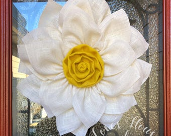 Burlap wreath, Burlap flower wreath, Daisy wreath, Flower wreath, Spring wreath,  Summer wreath, Front door wreath, Wedding wreath, rustic