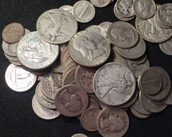 Over 1 oz us 90 percent silver coins!!  All pre 65 silver coins!!!  Coin collection inv 465