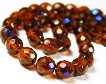 20 Pcs - 8mm Faceted Czech Glass Beads - Dark Topaz Zarit - Glass Spacer Beads - Jewelry Supplies - CR1