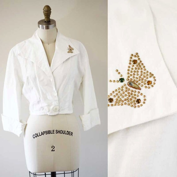 1960s butterfly top // 1960s white cotton top // 1960s blouse
