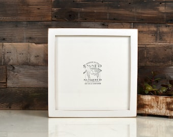 10x10 Picture Frame IN STOCK in 1x1 Flat Style with Vintage White Finish - Same Day Shipping - 10x10 Square Frames Solid Hardwood