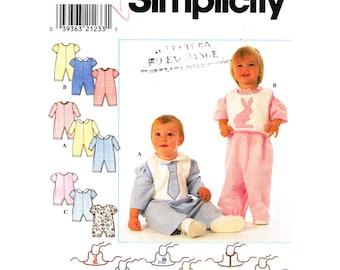 Baby Sewing Pattern Romper & Bib Simplicity 7995 Boys or Girls Jumpsuit Playsuit Infant Size NB S M L Uncut