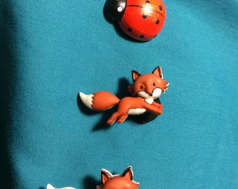 Cute Running FOXES Red Fox Clog Shoe Charms