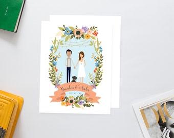 Spring Couples Portrait Wedding Invites /// Illustrated Couples Portrait /// Illustrated Family Portrait