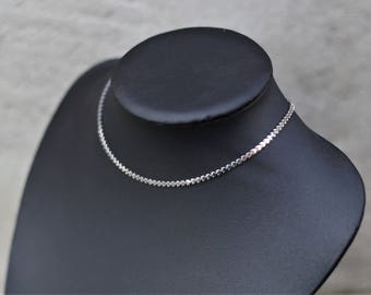 Minimalist Choker made of steel innoxydable - minimalist choker - silver choker - choker chain hearts