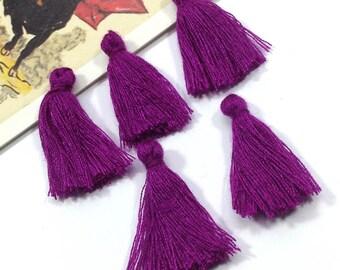 Bulk Lot 50 mini purple tassels 25mm cotton, rich Bohemian Moroccan short tassels / Indian style