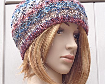 Slouchy beanie hat, chunky knit hat, multicolour beanie, Winter hat, Mothers day gift, uk  knit beanie hat, ladies hat, Fall fashion