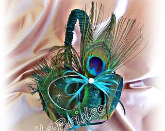 Peacock wedding flower girl basket, sparkly teal, brown and blue peacock feathers wedding basket.