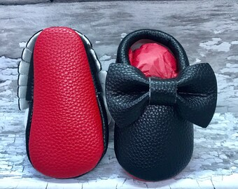 Black Red Sole Baby, Red Bottom Moccasin Baby Pram Shoes - Like Mummy's Louboutins but Designer Inspired! Louboutin Baby!