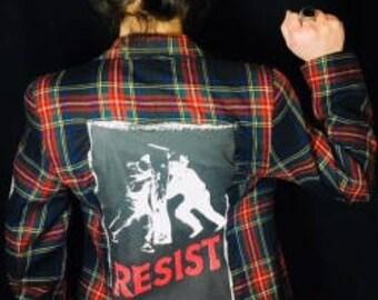 Plaid Blazer with Resist Patch