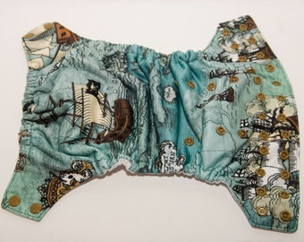 Pirate Map Cloth Diaper  - One Size Diaper - Pocket Diaper - Cloth Diaper Cover - AI2 Diaper