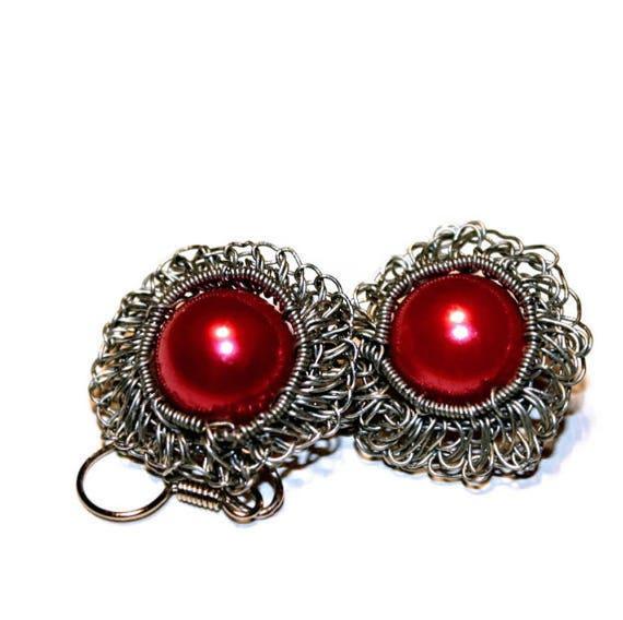 Irish lace crochet wire and yarn flower earrings tutorial