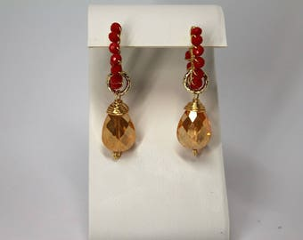 removable 20mm gold plated wirewrap hoops earrings light and bright orange colors