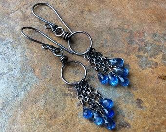Kyanite Earrings, blue Kyanite hoop earrings, Kyanite jewelry sterling silver earrings handmade jewelry artisan earrings by AngryHairJewelry