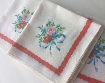 Set of 8 White Vintage Napkins with Floral Design and Red Edge, Napkin Cutters, Repurpose Fabric, Vintage Floral Design