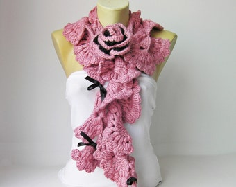 crochet Wool scarf/Tango Pink Crochet  ruffle scarf scarf crocheted scarf