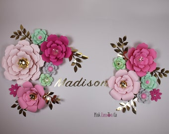 Giant paper flowers etsy nursery name sign girl nursery wall art paper flowers baby shower decor nursery decor flower backdrop giant paper flowers nursery wall decal mightylinksfo