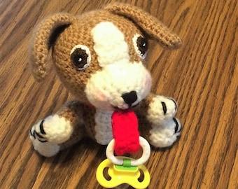 Crochet Beagle Puppy Pacifier Holder