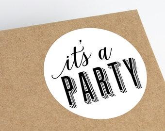 Printable Party Invitation Stickers, Birthday Party Printable Stickers, Birthday Party Invitation Envelope Stickers, Birthday Invitation