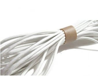 Leather cord genuine 2 mm - 10 m white