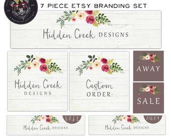 Etsy Shop Set-Wood Etsy Set-Rustic Etsy Set-Flower Etsy Set-Etsy Banner Set-Etsy Graphics-Branding